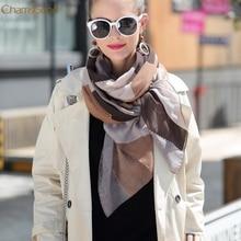 Зимние теплые шарфы женские модные принтованные атласно-шелковая шаль шарф