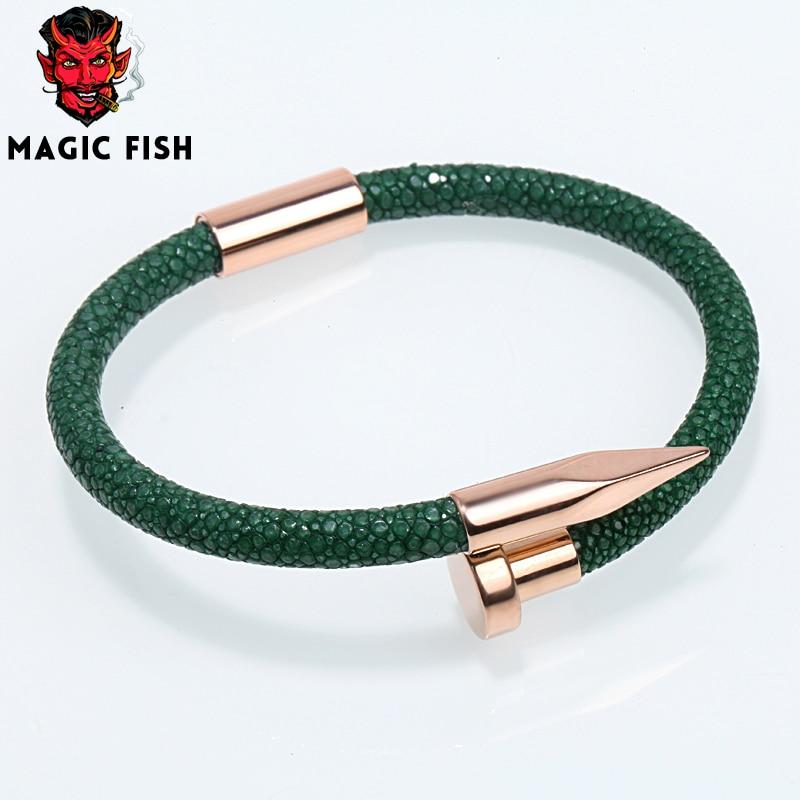 Magic Fish Bracelets bangles for men Dark green stingray skin Rose gold nail Luxurious jewelry Charms kolye orecchini bileklik magic fish bracelets
