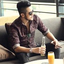 Новый Ретро Старый Цветочный принт рубашки мужчин slim fit Длинные рукава хлопок slim fit цветок рубашка Мужская люксовый бренд осень S2126