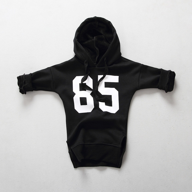 2016 winter girls hoodies baby hooded long sleeve letter printed fleece thick black t shirt children warm casual outwear 2-6T