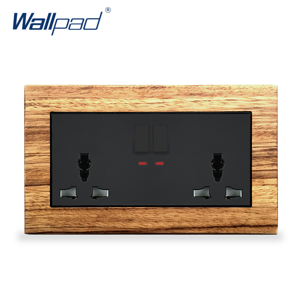 цена на New Arrival 2 Gang 6 Pin Universal Socket With Switches Wallpad Luxury Wall Light Switch Wooden Panel 146 Wall Power Outlet