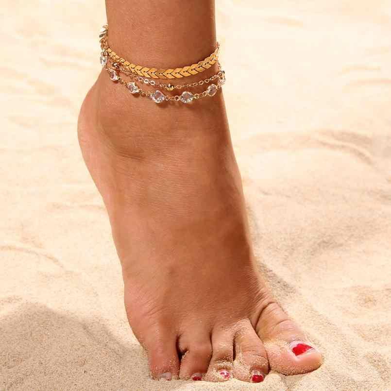 ไร้ที่ติหลายสร้อยข้อเท้าสร้อยข้อมือเครื่องประดับชายหาด Anklets ส่วนลูกปัด Boho เท้า Gothic โบฮีเมียนเครื่องประดับสร้อยข้อมือ