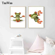 TaaWaa Nordic Art Funny Animal Poster Painting Humorous Frog Posters and Prints Decorative Wall Picture For Kids Room Decor