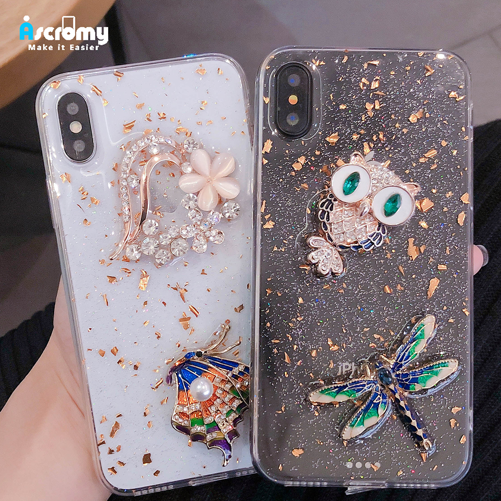 Ascromy Glitter Transparent For iPhone XS Max X XR Case Silicone Coque Cover For iPhone 7 8 Plus Bling Luxury Case Accessories