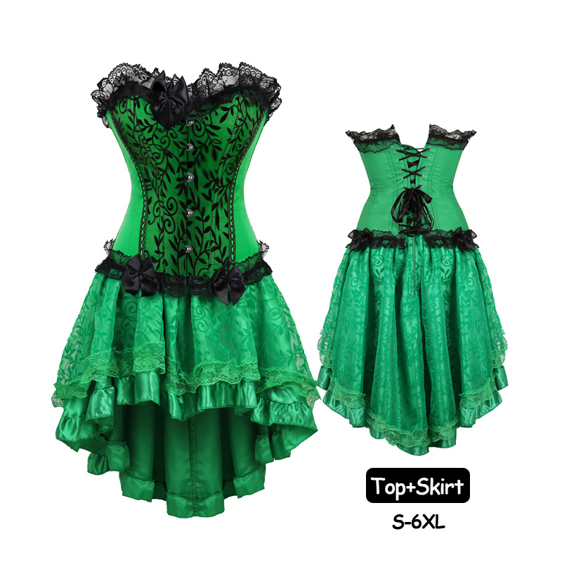 902d892ae5f Women Green Corset Dress Set Burlesque Vintage Bow Lace Up Corsets and  Bustiers Steampunk Skirt Cosplay Costume Plus Size 6XL-in Bustiers   Corsets  from ...