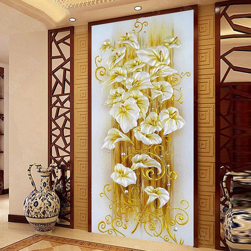 GLymg Diamond Embroidery Diy Lily Flower Crystal Bright Drill Diamond Painting Cross Stitch Vertical Picture European Home Decor