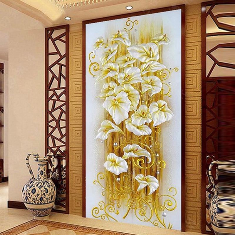 Glymg diamante Bordado DIY Lily flores de cristal brillante taladro Cuadros de punto de cruz imagen vertical Europea Decoración para el hogar
