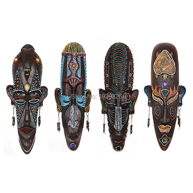 Creative African Character Mask Miniature Figurines Resin Wall Hanging Decorations Bars Cafe KTV Home Wall Decor Crafts 4 Styles