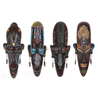 Creative African Character Mask Miniature Figurines Resin Wall Hanging Decorations Bars Cafe KTV Home Wall Decor
