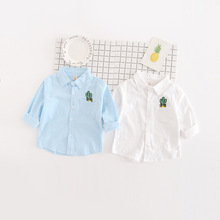 Boys Girls Pocket Embroidered Shirt Male Baby Autumn Clothes Children Long Sleeved Top Blouse White Shirts
