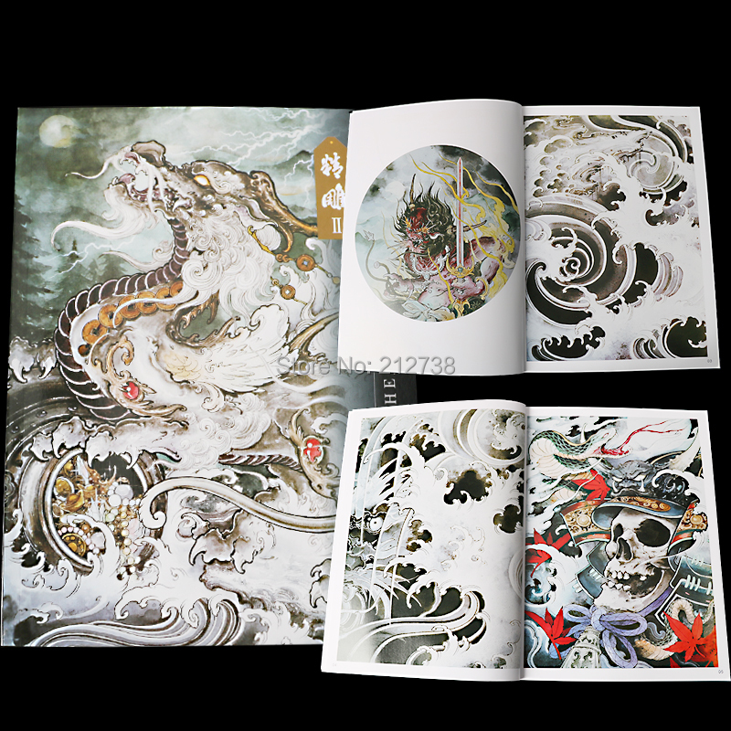 New Carved  Tattoos Manuscript Book Canglong Lion Kirin Rui Animal Snake Art  Tattoo Books Hand Atlas Master A4 40 Pages