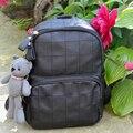 Nova Chegada de Moda Pingente Pequeno Urso Meninas Schoolbag Pu Mulheres De Couro Mochila Mochila Duplo Zíper do Saco Das Mulheres Do Vintage 583