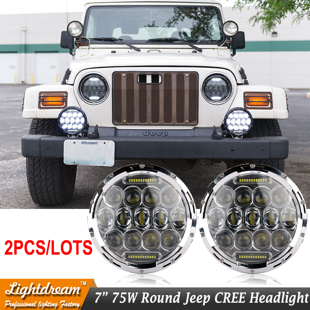 High low Beam 75w 7 Inch Round Led Headlight 7 75w Round LED head light lamp with DRL for Wrangler TJ JK Patriot Liberty x2pcs 1x 75w 7 headlight motorcycle black high low beam 7inch round daymaker led head light head lamp drl for harley davidson jeep jk