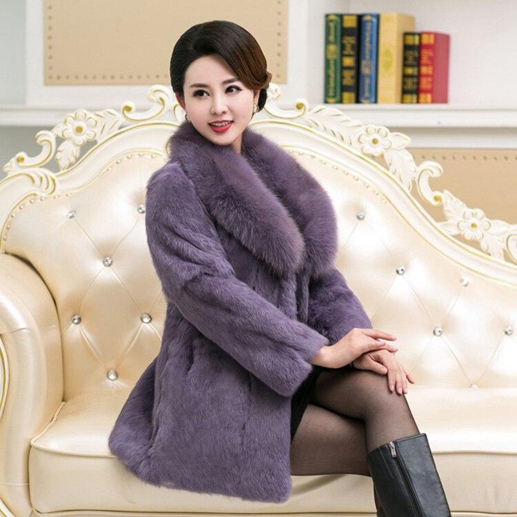 En Mince Fourrure Renard Cadeau Naturel Couleur Manteaux Avec 6xl 5xl Col Femmes Purple black Taille De Plus Outwear Véritable Veste Pour Noir Lapin Dame 7a4fx