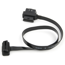 OBDII OBD2 16Pin 90 degree Angle Male To Female Diagnostic Extender Connector Cable Splitter Flat Thin As Noodle 60cm