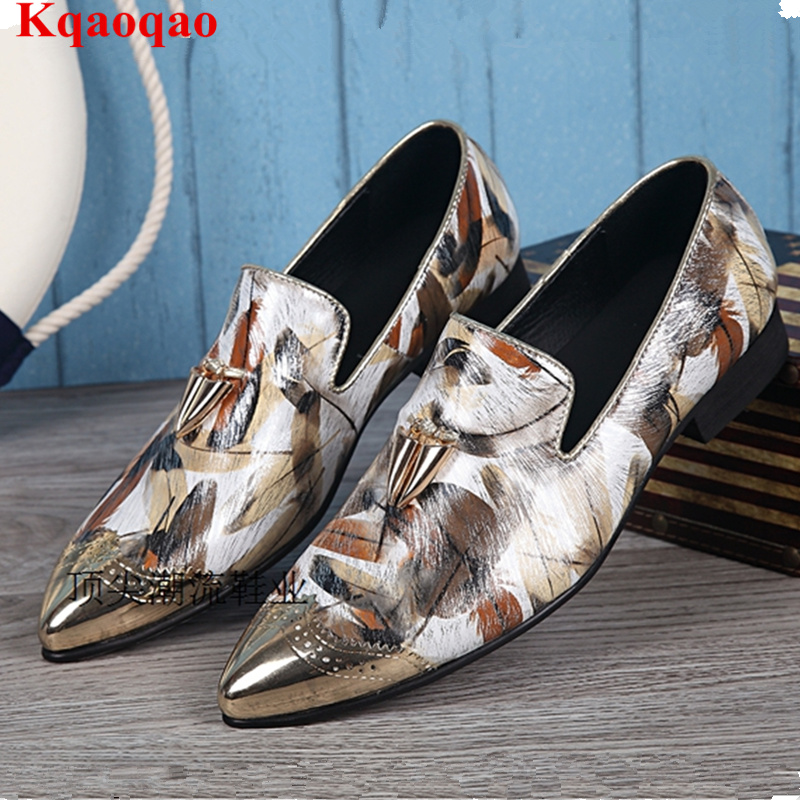 Pointed Metal Toe Low Top Hommes Chaussures Leather Slip On Loafers Heel Masculino Gold Metal Decor Men Shoes Leisure Male Shoes women ladies flats vintage pu leather loafers pointed toe silver metal design