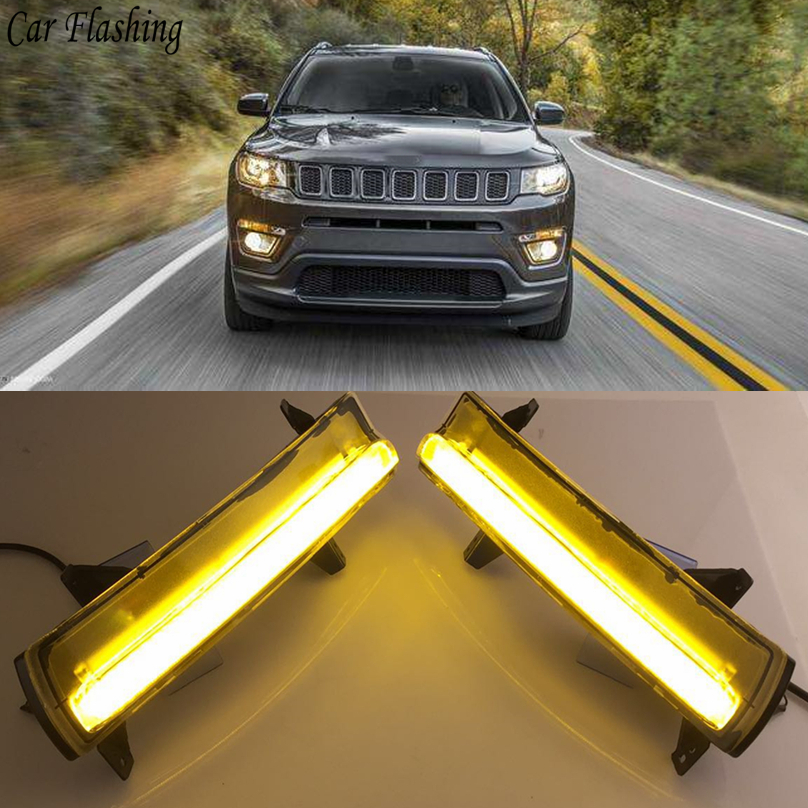 2 pcs car styling For Jeep Compass 2017 2018 LED DRL Daytime driving Running Lights Daylight