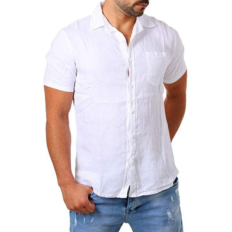 זרוק משלוח 2019 חדש של גברים מזדמנים כותנה פשתן חולצה זכר לבן קצר שרוול חולצות גברים קיץ מוצק צבע חולצה חולצות M-2XL