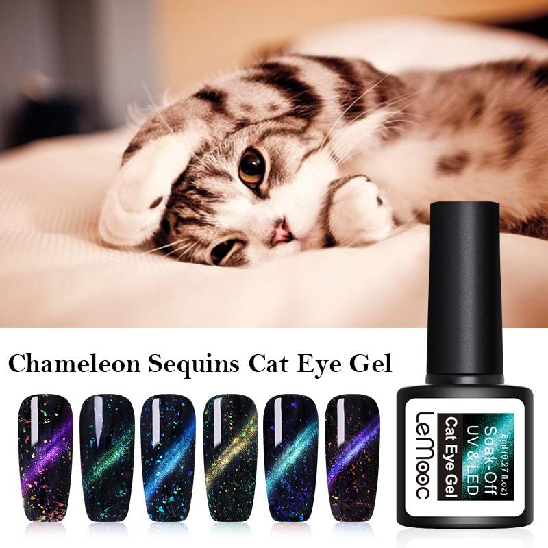 LEMOOC 3D Chameleon Thermal UV Gel Varnish 8ML Magic Starry Cat Eye Nail Gel Polish Magnetic Holographic UV Soak Off Gel Lacquer in Nail Gel from Beauty Health