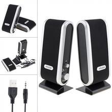 Черный, HY-218, 6 Вт, USB2.0, проводные USB колонки, стерео, 3,5 мм, аудио разъем для ПК, ноутбука, компьютера MAC
