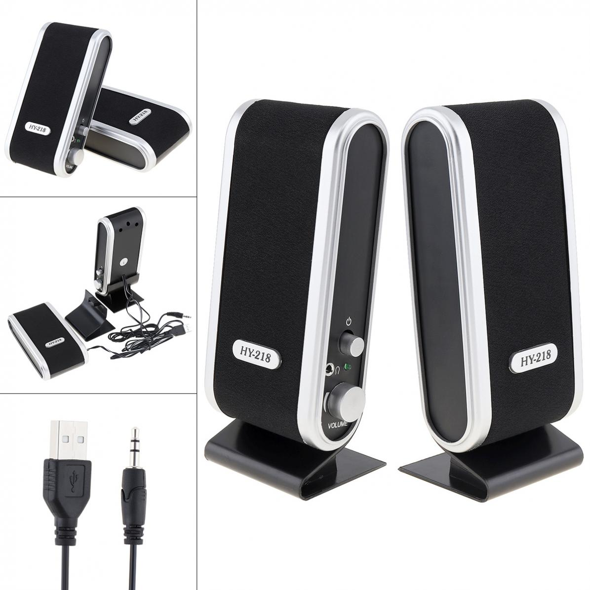 Black HY-218 6W USB2.0 Wired USB Power Speakers Stereo 3.5mm Audio Jack For PC Laptop Computer MAC