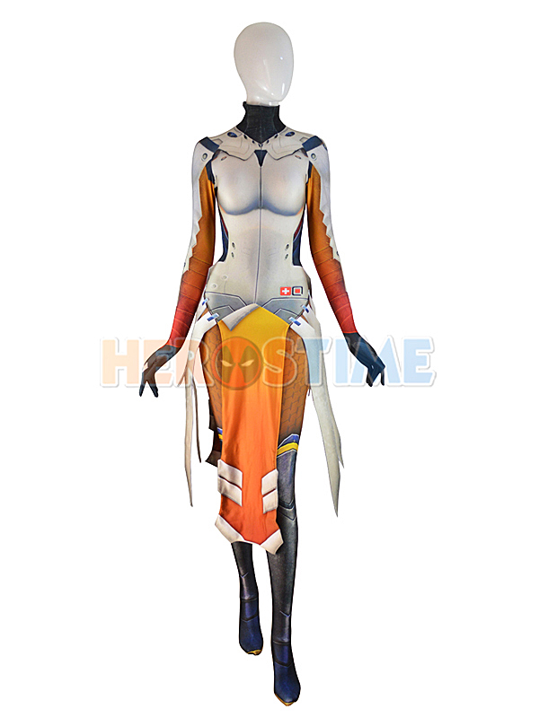 D Va Mercy Costume Armored W Strips Spandex Girl Game Cosplay Suit Woman Superhero Costume Custom made