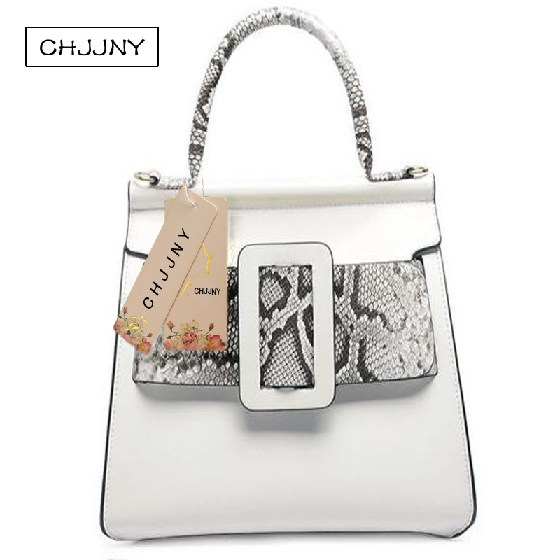 CHJJNY  2017 Autumn and winter fashion style genuine leather women vintage big buckle hand bags