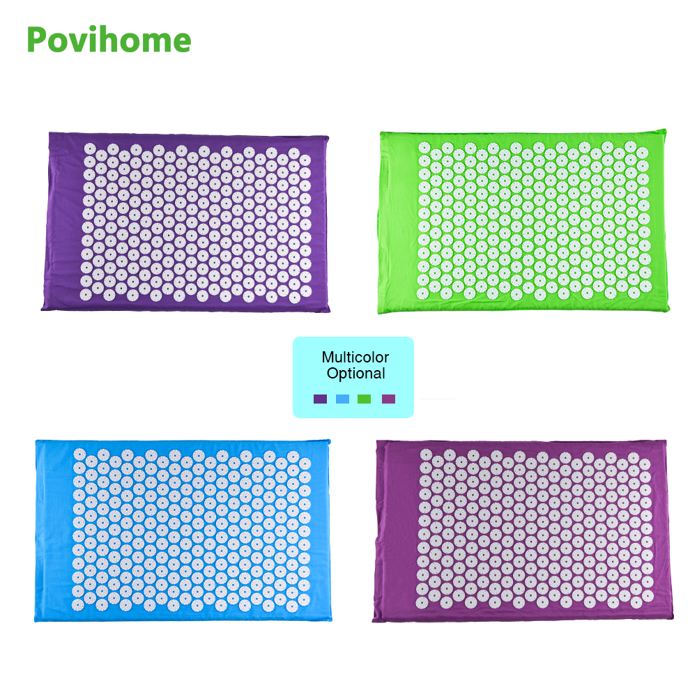 Povihome Differen Colors Acupressure Therapy Cushion Massage Mat Set Relieve Stress Pain Acupuncture Spike Yoga Cushion Health povihome 1set massage cushion acupressure therapy mat relieve stress pain relief acupuncture spike yoga mat with pillow d06874