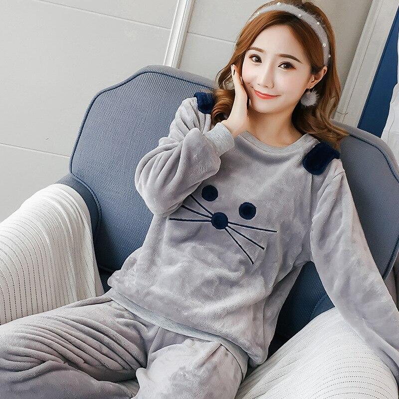 ... Pyjamas Sets Thick Warm Coral Velvet Suit Flannel Long Sleeve Female  Cartoon Bear Animal Pants Sleepwear. 25% OFF. Previous ae158b3e7