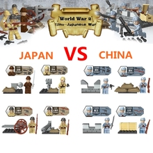 SWAT Minifigures World War II WW2 Police Military with Weapon China VS Japan Soldier Building Blocks Brick Enlighten Toys