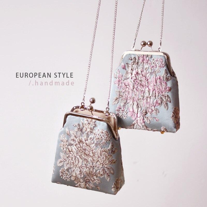 Sac à main femme 14 cm métal cadre sacs Professiona fait main bricolage artisanat matériel paquet cadeau pour ami (19 CM * 18 CM * 7.5 CM) jacquard