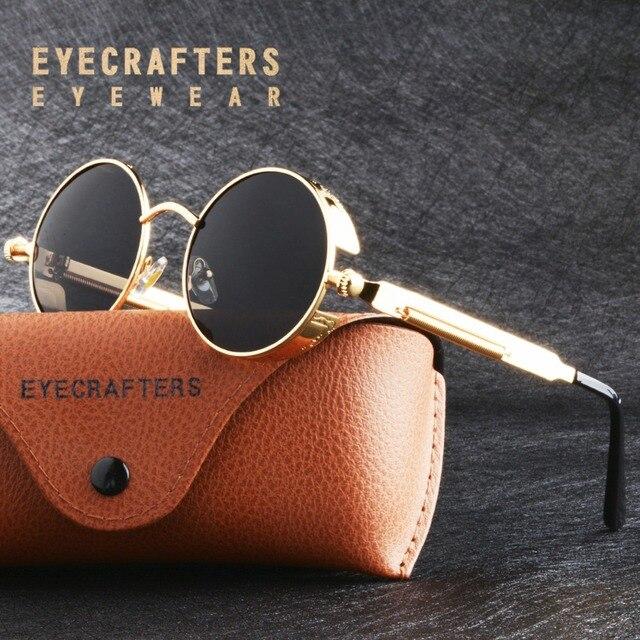 28c6234b21 Black Lens Metal Polarized Sunglasses Gothic Steampunk Sunglasses Mens  Womens Fashion Retro Vintage Side Shield Eyewear