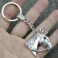 Antique Silver 37x36mm Horse Head Keychain New Vintage Handmade Metal Key Ring Party Gift
