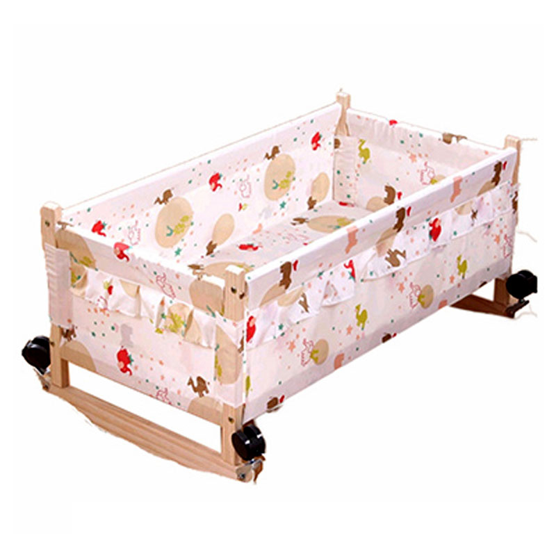 Wood Baby Cradle Crib Bed Newborn Sleeping Basket Baby Crib Bedding Baby Cradle and Bed Wood Newborn Baby Swing Crib with Wheel hot sale electric baby cradle automatic swing baby shaker baby cribs bear weight less than 25kg pink blue baby sleeping basket