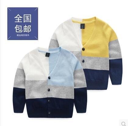 fashion Children's clothing boys sweater cardigan 100% cotton baby cardigan thin sweater