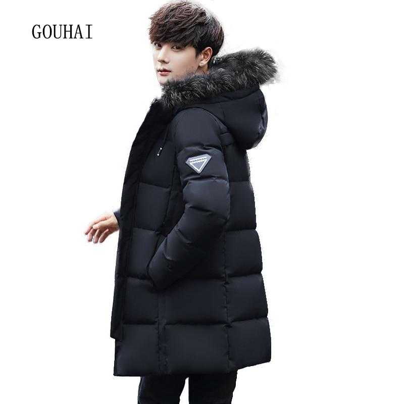 Fur Collar Hooded Winter Jacket Men White Duck Down Jacket Men Plus Size Warm Solid Long Coat Man Feather Jacket Men Parka Homme