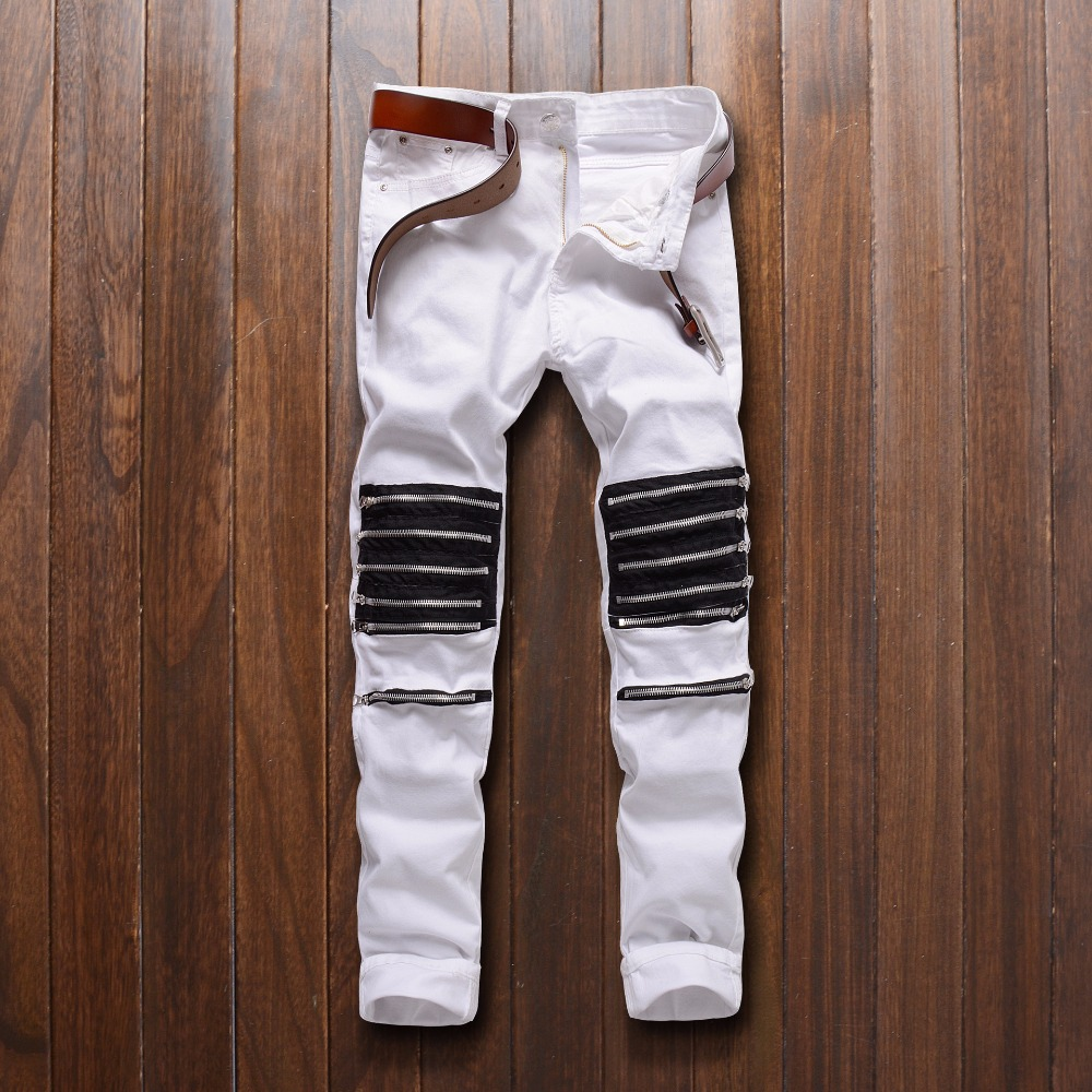 Top quality 2019 nightClub barber Dance dedicated man Multi Zipper white/red knee hole cut bad elastic casual pants   jeans   men