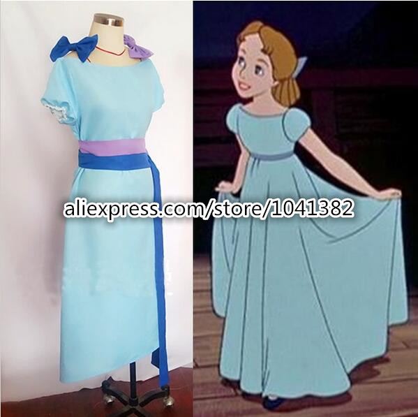 Nieuwe Peter Pan Wendy Cosplay Blauw Fancy Dress Halloween Kostuums