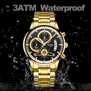 Image 3 - Nibosi relógio de pulso automático masculino, relógio de quartzo marca de luxo dourado com data, luminoso, calendário, relógio de pulso