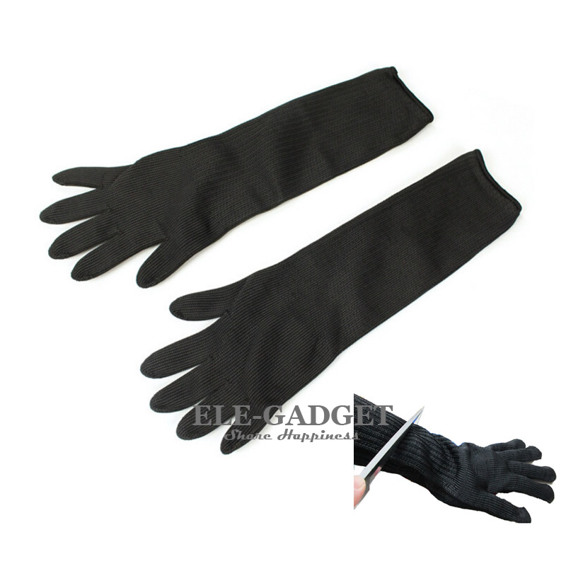 1 Pair Black Cut-Resistant Gloves Long Work Safety Protective Gloves For Butcher Worker Gardener Hands Protection цена