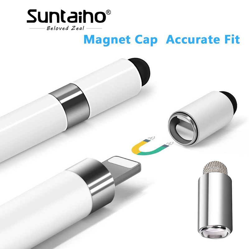 Suntaiho Stylus Pencil Cap Magnetic Tip for Apple Pencil Pen Case With Conductive for iPad Pro 10.5 9.7 12.9 Pen cap Accessory magnetic buckle up pencil case