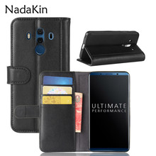 For Huawei Mate 10Pro Retro Magnetic Wallet Genuine Leather Case for Huawei Mate 10 Pro Flip Cover Phone Bags Kickstand
