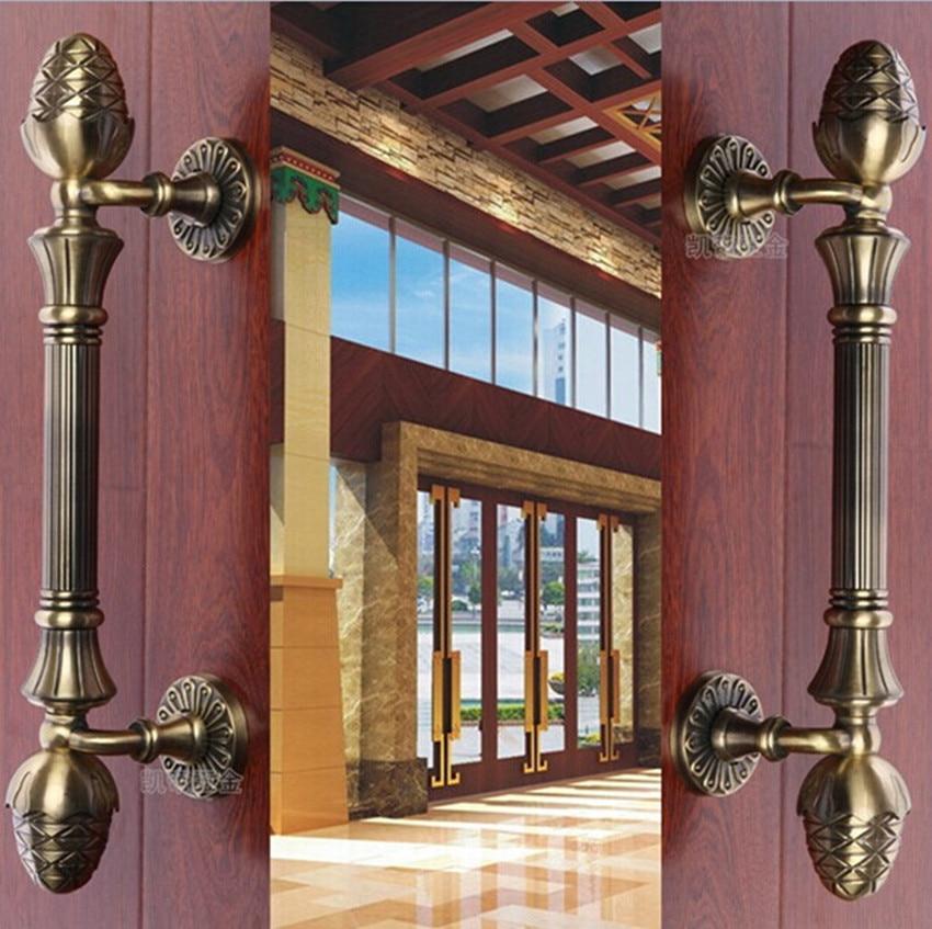 420mm 520mm Top quality bronze wooden door handles pulls antique bronze home ,KTV office hotel wooden door handles entrance door handle solid wood pull handles pa 377 l300mm for entry front wooden doors