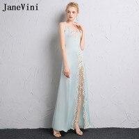 JaneVini Vestidos Сексуальная мать невесты платье Кружева Аппликации Линия бретельках Высокая Сплит эластичный атлас Vestido Longo Noite