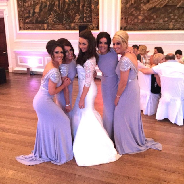 c2624bd41d New Lavender Mermaid Cap Sleeves Bridesmaid Dresses 2017 Beaded Sexy  Backless Long Maid Of Honor Prom Wedding Guess Dress