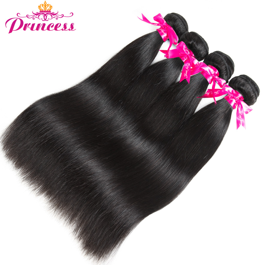 Beautiful Princess Peruvian Straight Hair 4 Bundles With Closure Double Weft Human Hair Bundles With Closure Non Remy
