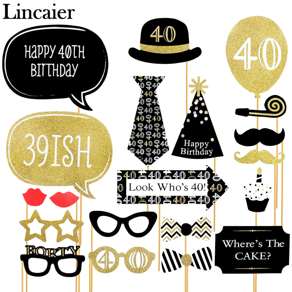 Big happy birthday badges party products party delights - Lincaier 20 Pieces 40th Happy Birthday Party Decorations Supplies Photo Booth Props 40 Years Man Woman