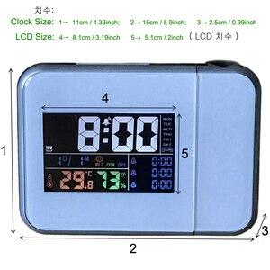 Image 5 - ギフトアイデアカラフルな led デジタルプロジェクションアラーム時計温度温度計湿度湿度計卓上時間プロジェクターカレンダー