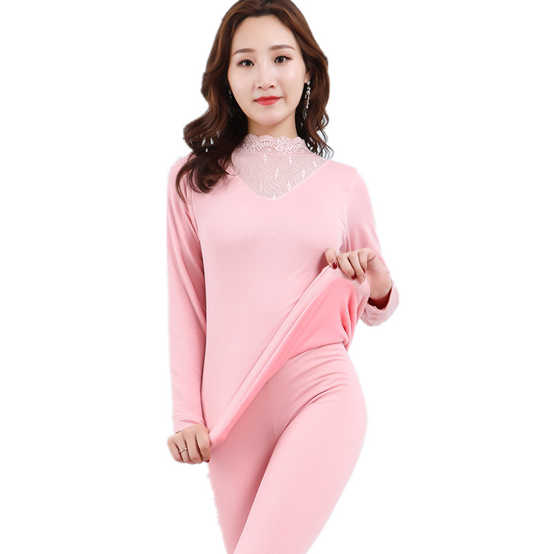 New Winter Velvet Thick Second Female Thermal Skin Fashion Sexy Lace Turtleneck Thermal Underwear For Women Slim Basic Warm Suit in Long Johns from Underwear Sleepwears