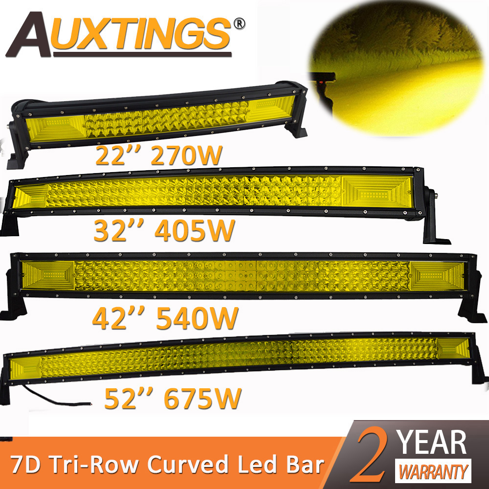 "Auxtings 22"" 32"" 42"" 52"" Curved Led Light Bar Work Light 7D led bar Yellow 4x4 Truck ATV Car Roof Offroad Amber Fog Light Bar